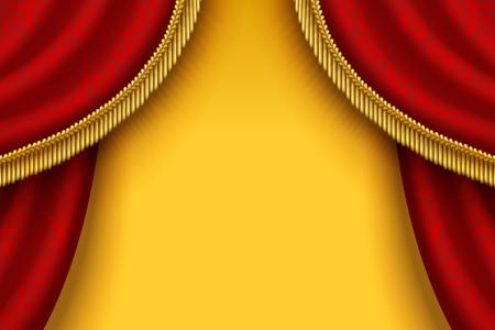 Rideau rouge de scène avec glands sur fond jaune