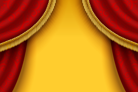 Stage red curtain with tassels on yellow background