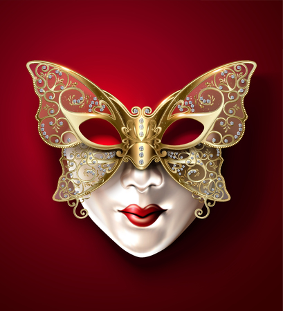 Golden butterfly carnival mask in 3d illustration