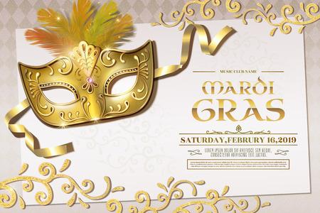 Diseño de invitación a la fiesta de Mardi Gras con máscara dorada y adornos brillantes en la ilustración 3d