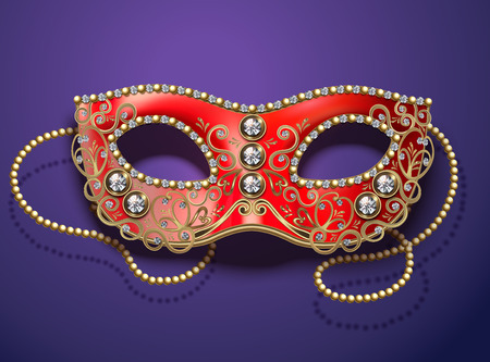 Red carnival mask with diamonds and beads in 3d illustration on purple background