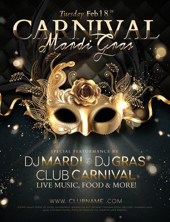 Diseño de carteles de carnaval de Mardi Gras con máscara dorada y cintas en ilustración 3d