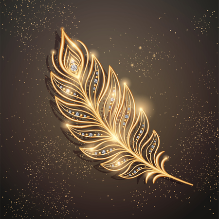 Golden feather brooch decorations with diamonds on sparkling brown background in 3d illustration