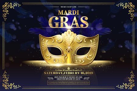 Diseño de fiesta de Mardi Gras con máscara dorada sobre fondo púrpura brillante bokeh