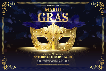 Mardi Gras party design with golden mask on glittering bokeh purple background