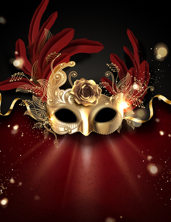 Golden carnival mask with feathers on bokeh background in 3d illustration