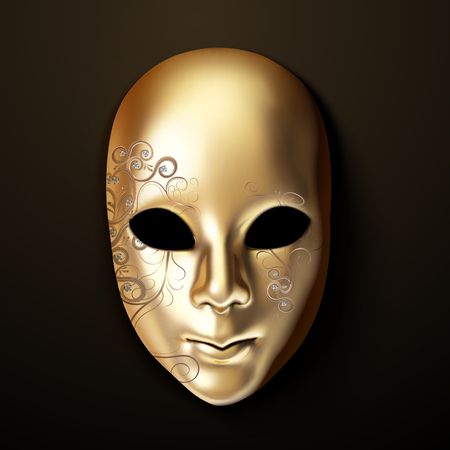 Golden mask with diamond in 3d illustration