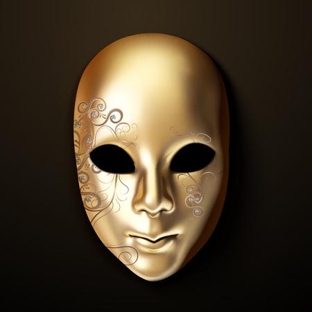 Máscara de oro con diamante en ilustración 3d