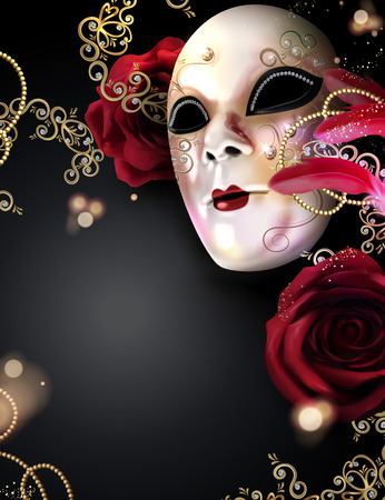 Carnival mask with roses and feathers on black background in 3d illustration