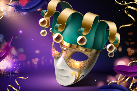 Clown mask design for carnival on purple bokeh background in 3d illustration