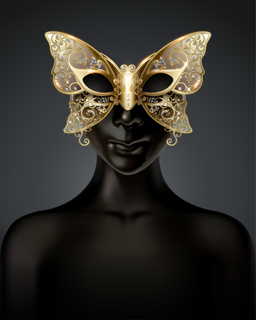 Black dummy model wearing carnival butterfly mask in 3d illustration