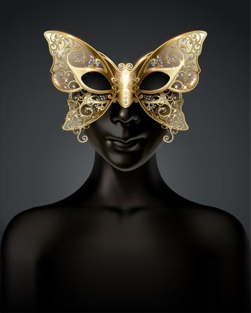 Modelo ficticio negro con máscara de mariposa de carnaval en ilustración 3d