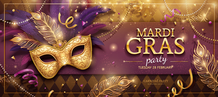 Mardi Gras party banner design with golden masks and purple feathers in 3d illustration