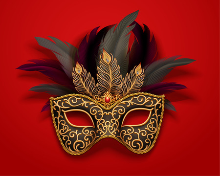 Black carnival mask with feathers decorations on red background, 3d illustration