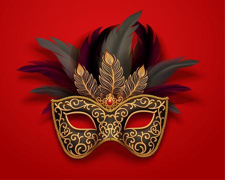 Máscara de carnaval negra con adornos de plumas sobre fondo rojo, ilustración 3d