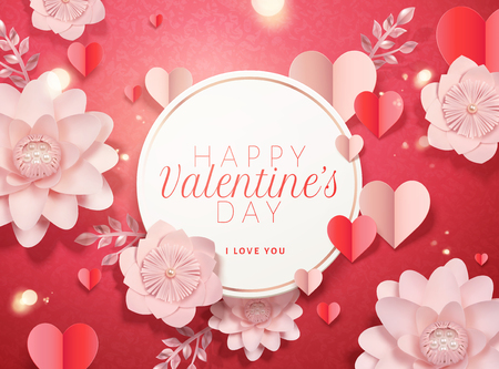 Happy valentines day card template with paper pink flowers and heart shaped decorations in 3d illustration