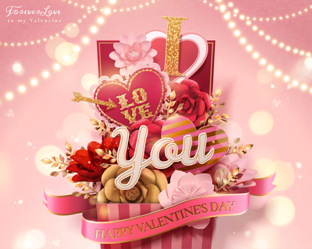 Happy valentines day gift box full of paper flowers and heart shaped decorations, bokeh glittering pink background in 3d illustration