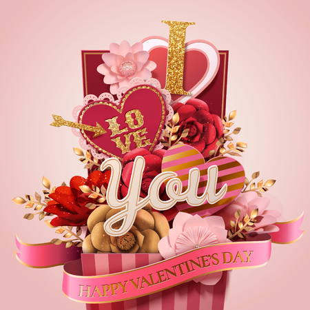 Happy valentines day gift box full of paper flowers and heart shaped decorations, pink background in 3d illustration Ilustração