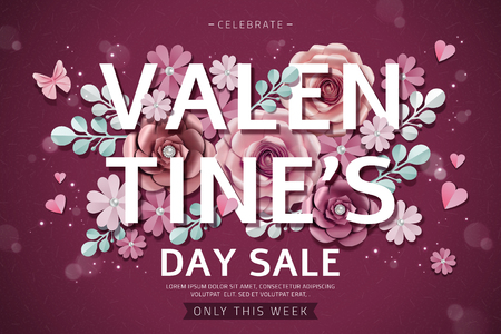 Valentines day sale with exquisite paper flowers decorations in 3d illustration, burgundy red background