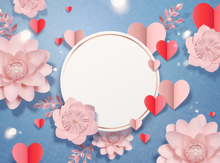 Valentines day card template with paper heart shaped decorations and flowers, 3d illustration Stock Illustratie