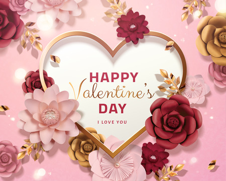 Happy valentines day card template with paper flowers in 3d illustration, pink background