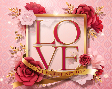 Happy valentines day card template with paper flowers and golden frame in 3d illustration Ilustração