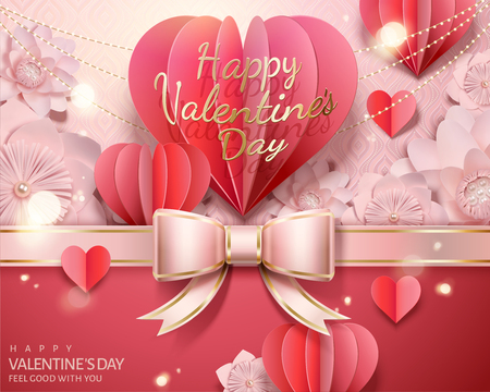 Happy valentines day paper fold heart shaped decorations in 3d illustration, pink flowers background