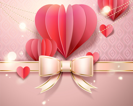 Valentine's day card template with paper heart shaped decorations, ribbon bow in 3d illustration