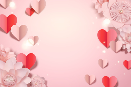 Valentine's day card template with paper heart shaped decorations and flowers, 3d illustration