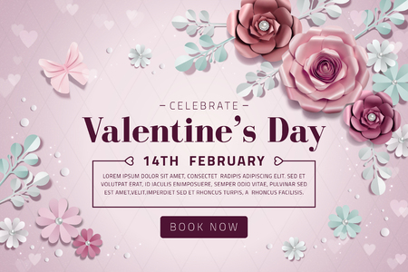 Valentines day sale with exquisite paper flowers decorations in 3d illustration 向量圖像