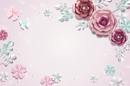 Romantic paper flowers background in 3d illustration Ilustração