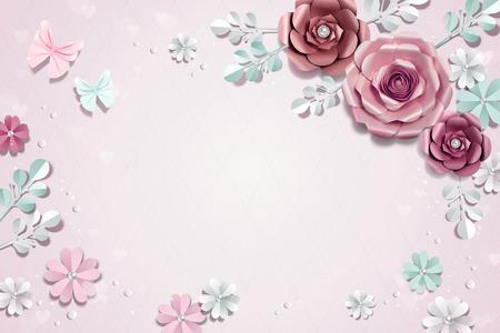 Romantic paper flowers background in 3d illustration Illustration