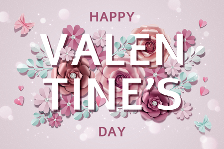 Happy Valentine's day with exquisite paper flowers decorations in 3d illustration Stock Vector - 125858359