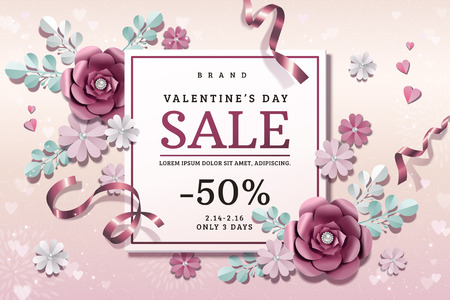 Valentines day sale with exquisite paper flowers decorations in 3d illustration Stock Illustratie