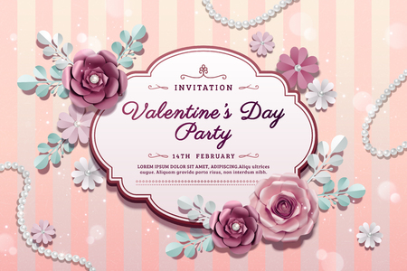 Valentines day party with exquisite paper flowers decorations in 3d illustration