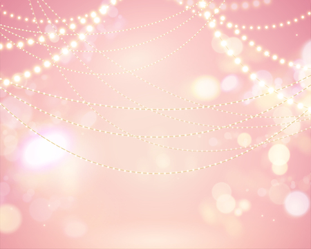 Glittering bokeh pink background with lighting bulbs decoration