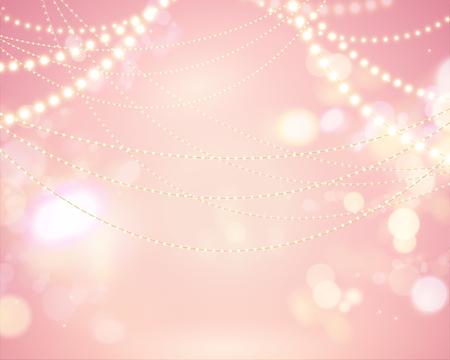 Sfondo rosa bokeh scintillante con decorazione di lampadine Vettoriali