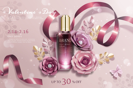 Happy Valentine's day cosmetic ads with paper flowers  and ribbons decorations Ilustração