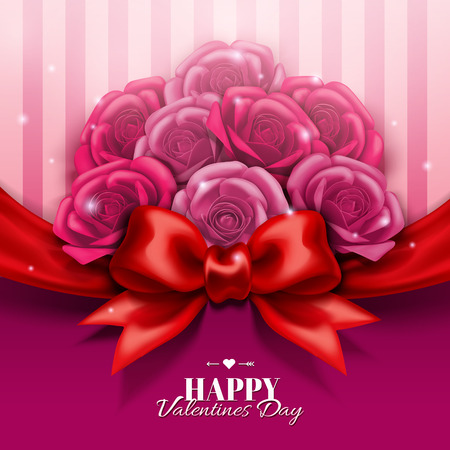Happy Valentines day design with roses boutique and red bow in 3d illustration Иллюстрация