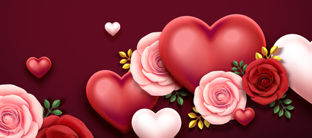 Valentine's day design with roses and heart shaped decorations in 3d illustration Vectores