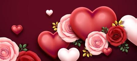 Valentinstag-Design mit Rosen und herzförmigen Dekorationen in 3D-Darstellung