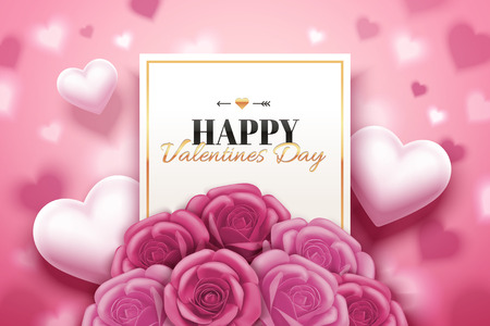Happy Valentines day design with pink roses boutique and heart shaped in 3d illustration
