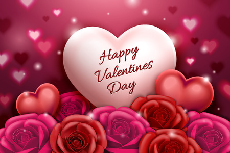 Valentines day design with roses and heart shaped decorations in 3d illustration