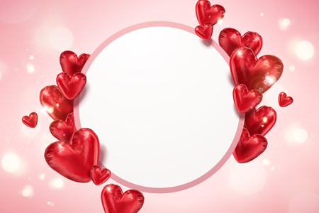 Heart shaped balloons with copy space on pink bokeh background in 3d illustration