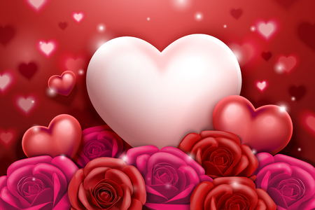 Valentines day with roses and heart shaped decorations in 3d illustration Çizim