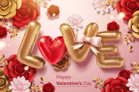 Happy Valentines day with L.O.V.E and heart shaped balloons in 3d illustration