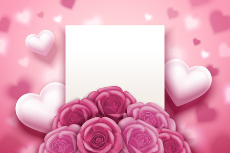 Romantic valentines card with pink roses and heart decorations, 3d illustration Illustration