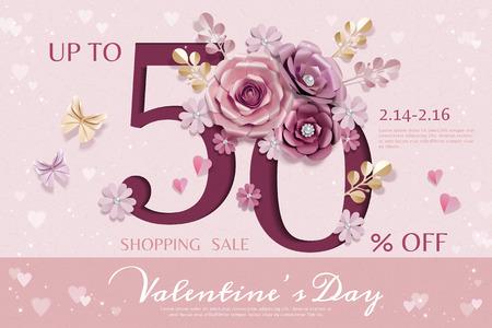 Happy Valentinstag Verkaufsvorlage mit Papierblumendekorationen
