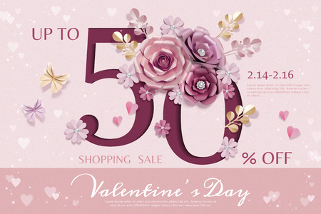 Happy Valentines day sale template with paper flowers decorations
