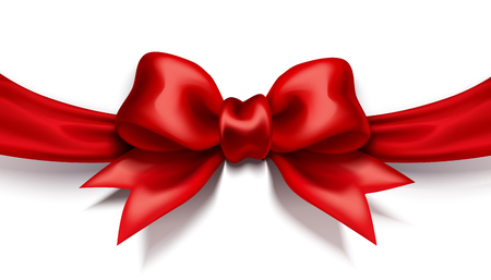 Red ribbon bow on white background in 3d illustration Banque d'images - 125807892